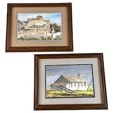 Russ (Russell) Hamilton 1950-2014, Ojo Caliente Round Barn and School House on Natural Bridge Road Watercolor paintings by Listed NM Artist