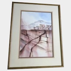 Brian T. Keller, Southwestern Pueblo Indian Village with Adobe Homes Watercolor Painting Signed by Artist