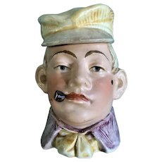 Antique Tobacco Cigarette Jar Humidor Figural Man Smoking Cigar Wearing Cap Majolica Numbered 7667 & 78