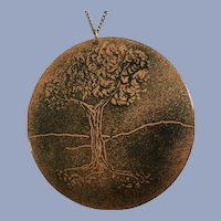 Nature Tree of Life Medallion Black Enamel on Copper Plate Pendant on Silver-Tone Necklace