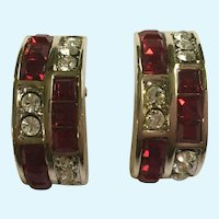 Gorgeous Ruby Red and Faux Diamond Rhinestones on Gold-Tone Clip-On Earrings