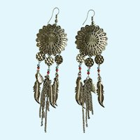 Native American Feathers and Silver-Tone Filigree disks Fishhook Earrings for Pierced Ears
