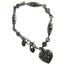 Silver-Tone Hearts and Flowers Bracelet