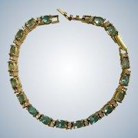Aquamarine and Faux Diamond Rhinestone Tennis Bracelet Avon