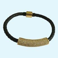 Sparkling Faux Diamond Rhinestone Encrusted Gold-Tone Ingot and Black Leather Bracelet