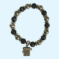 Black Cat Eye Silver-Tone Beaded Bracelet with Box Charm