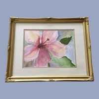 Carol Orlandini, Pink Hibiscus Flower Original Watercolor Painting Signed by Artist