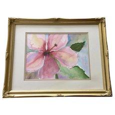 Carol Orlandini, Pink Hibiscus Flower Original Watercolor Painting Signed by Artist