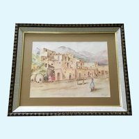 P. T. Forsyth, Taos Pueblo Indians Adobe Homes Watercolor Painting 1972