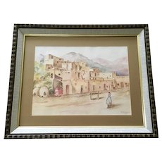P. T. Forsyth, Taos Pueblo Indians Adobe Homes Watercolor Painting Signed by Artist 1972