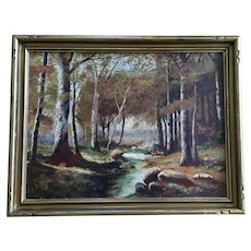 Deer by Stream in Woods Oil Painting on Board 19th Century Unsigned
