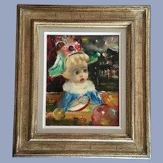 Santini Poncini Clown Drummer Infant Child Circus Original Oil Painting