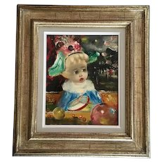 Santini Poncini Clown Drummer Infant Child Circus Original Oil Painting Signed by Listed Paris France Artist