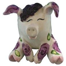Humorous Purple Rose Piggy Pig Lacombe Annaco Creations Ceramic Figurine Retired 2001