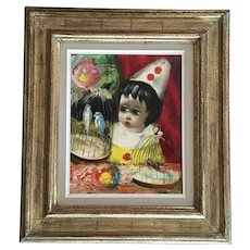 Santini Poncini Clown with Parakeet Birds Infant Child Circus Original Oil Painting Signed by Listed Paris France Artist