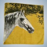 "Mid-Century Silk Horse Scarf 12"" Square"