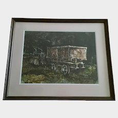 H Francis Sellers, Old Mining Cars in Abandoned Mine Original Watercolor Painting