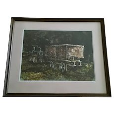 H Francis Sellers, Old Mining Cars in Abandoned Mine Original Watercolor Painting Signed by Utah Artist