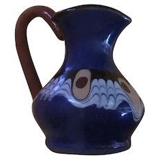 Vintage Bulgarian Troyan Pottery Miniature Pitcher or Creamer