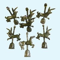 Six Gallo Pewter Figurines Miniature Carousel Bunny Rabbits and One Horse