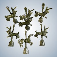 Six Gallo Pewter Miniature Carousel Bunny Rabbits and One Horse with Aurora Borealis Crystal Ball Top Figurines