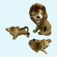 Bone China Miniatures Lion and Cubs Family With Whiskers