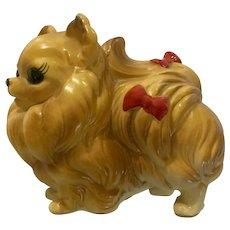 Josef Originals Dog Pomeranian With Red Bows Figurine Vintage