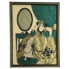 Vintage Silhouette Lady Vanity Fair Foil Art Deco Reverse Glass Picture ( Beauty Secrets) By Reliance Smith Frederick