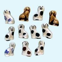 Bone China Dog Miniature Figurines Vintage Hand Painted Pottery 11