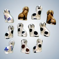 Bone China Dog Miniature Figurines Vintage Hand Painted Pottery 11