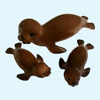 Seal Sea Lion Family Bone China Miniatures Vintage Brown Rare Large Size Japan