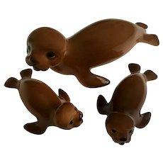 Vintage Bone China Miniatures Brown Sea Lion Seal Family Rare Large Size Japan