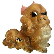 Josef Originals Dog Pekingese With Big Pink Bow Figurine Japan