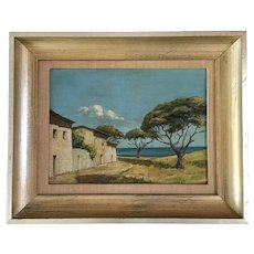 Italian Village by the Sea Landscape Oil Painting Unsigned