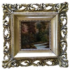Antique Oil Painting River Wilderness Landscape
