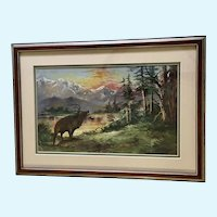Bull Elk Bugling Colorful Sunset Mountain Landscape Oil Painting