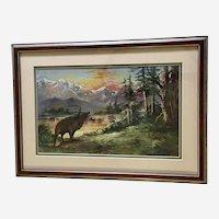Bull Elk Bugling Colorful Sunset Mountain Landscape Oil Painting