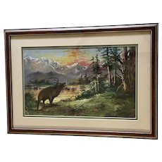 Bull Elk Bugling by Forested Lake with Colorful Sunset over Mountain Landscape Oil Painting