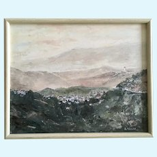 Ron Powlan Italian Riviera Landscape Oil Painting Signed by Canadian Artist 1961