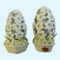 Blue Flower Salt and Pepper Shaker Topiary Blue Bisque Ceramic Made in Japan