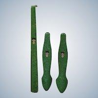 Art Deco Shoe Horn & Matching Shoe Tree Set Lady Mottled Celluloid Faux Emerald Green Marble