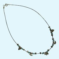 Animal Charm Sterling Necklace Silver 925 with Faux Turquoise Beads