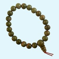 Green Granite Beaded Bracelet Polished Stone Beads on Stretchy Band