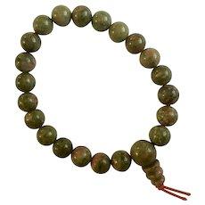 Green Granite Beaded Bracelet Polished Stone Beads on Stretchy Band