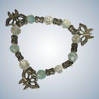 Childs Butterfly Bracelet Beaded Silver-Tone and aquamarine to Clear Beads with Charms