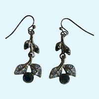 Blue Berry Flower Earrings Dangling with Rhinestones Fishhook for Pierced Ears Costume Jewelry