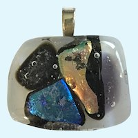 Art Glass Pendant with Iridescent Blues and Oranges on Black and White