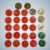 "Buttons Large Plastic Pearly Swirl Red Green and Taupe Coat or Dress 2 Hole 1-1/2"" 27 pc"