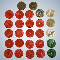 """Buttons Large Plastic Pearly Swirl Red Green and Taupe Coat or Dress 2 Hole 1-1/2"""" 27 pc"""