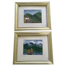 Betty Ruter, Primitive Cuban Landscape Oil Paintings 1943